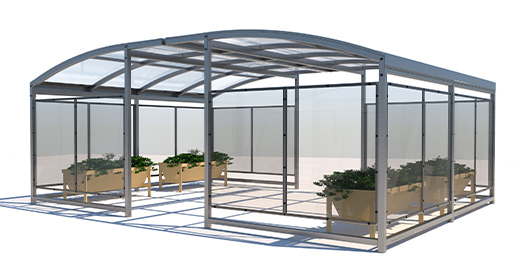 outdoor growing room or greenhouse