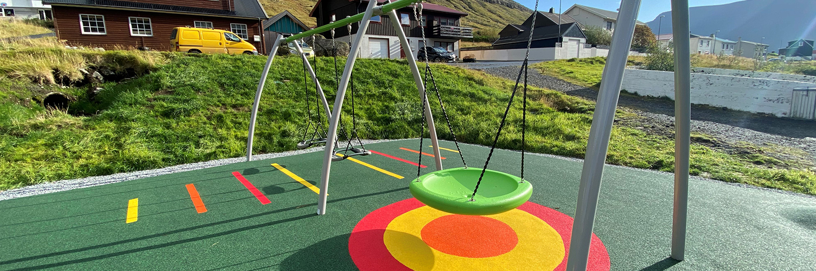 Colourful Swings in a Playground