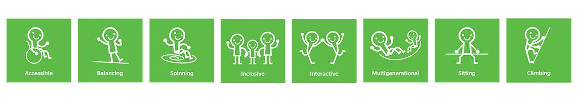 SpinR² Play Values: Accessible, balancing, spinning, inclusive, interactive, multigenerational, sitting, climbing