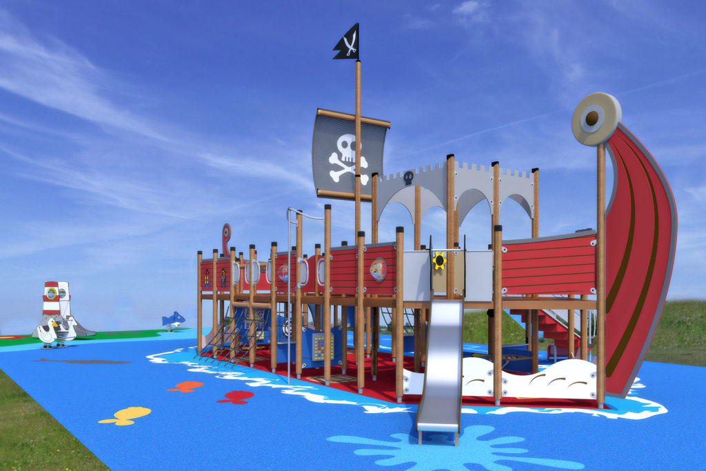 large red pirate ship playground