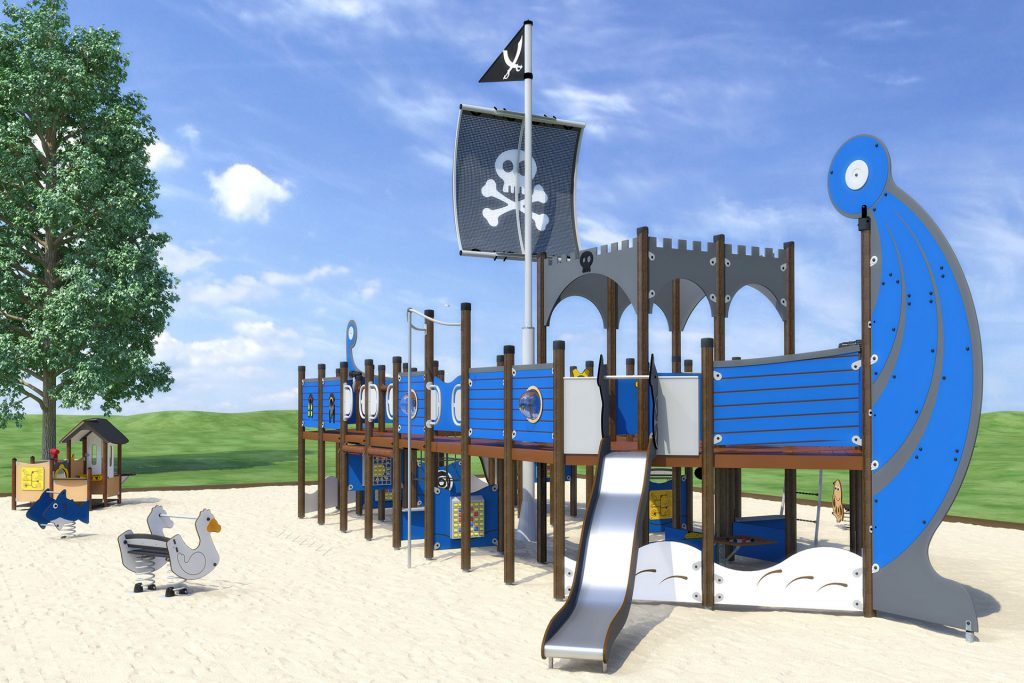 large blue pirate ship playground