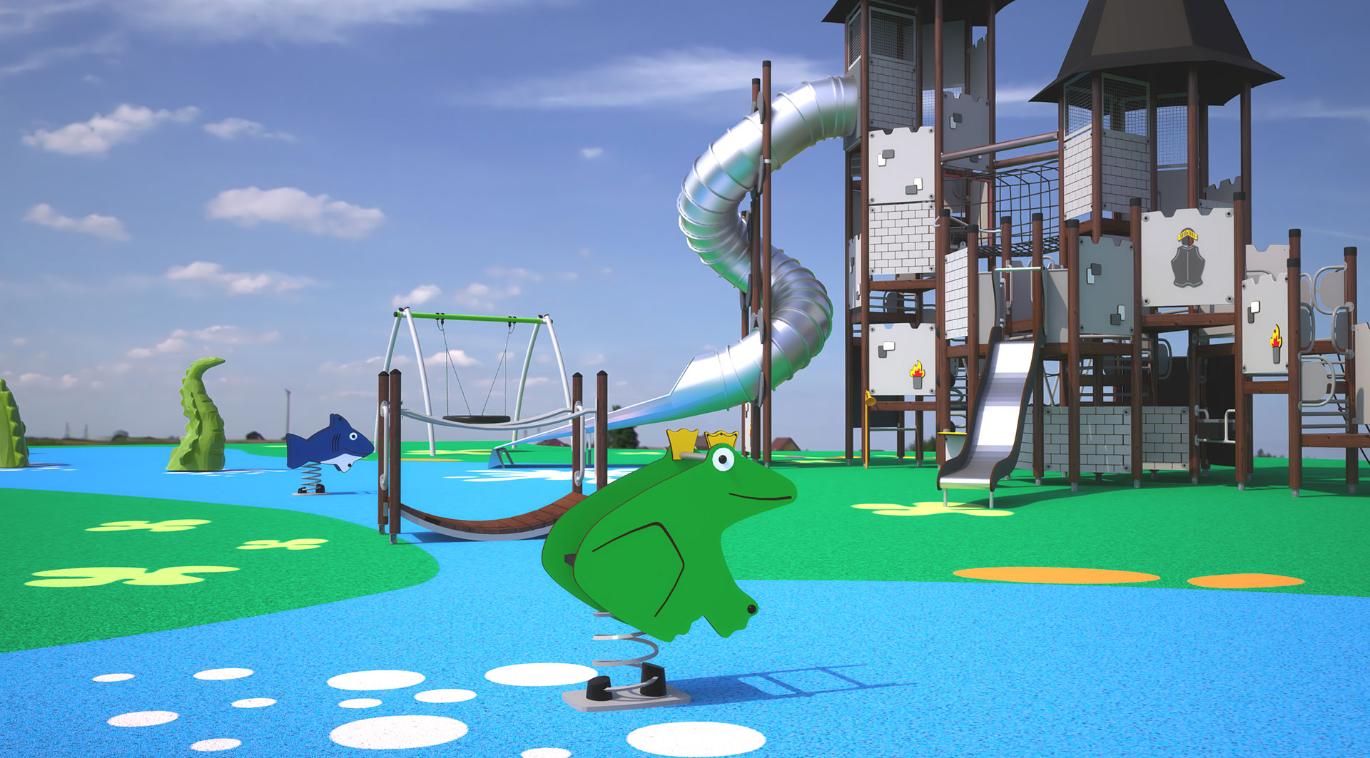 large blue castle playground
