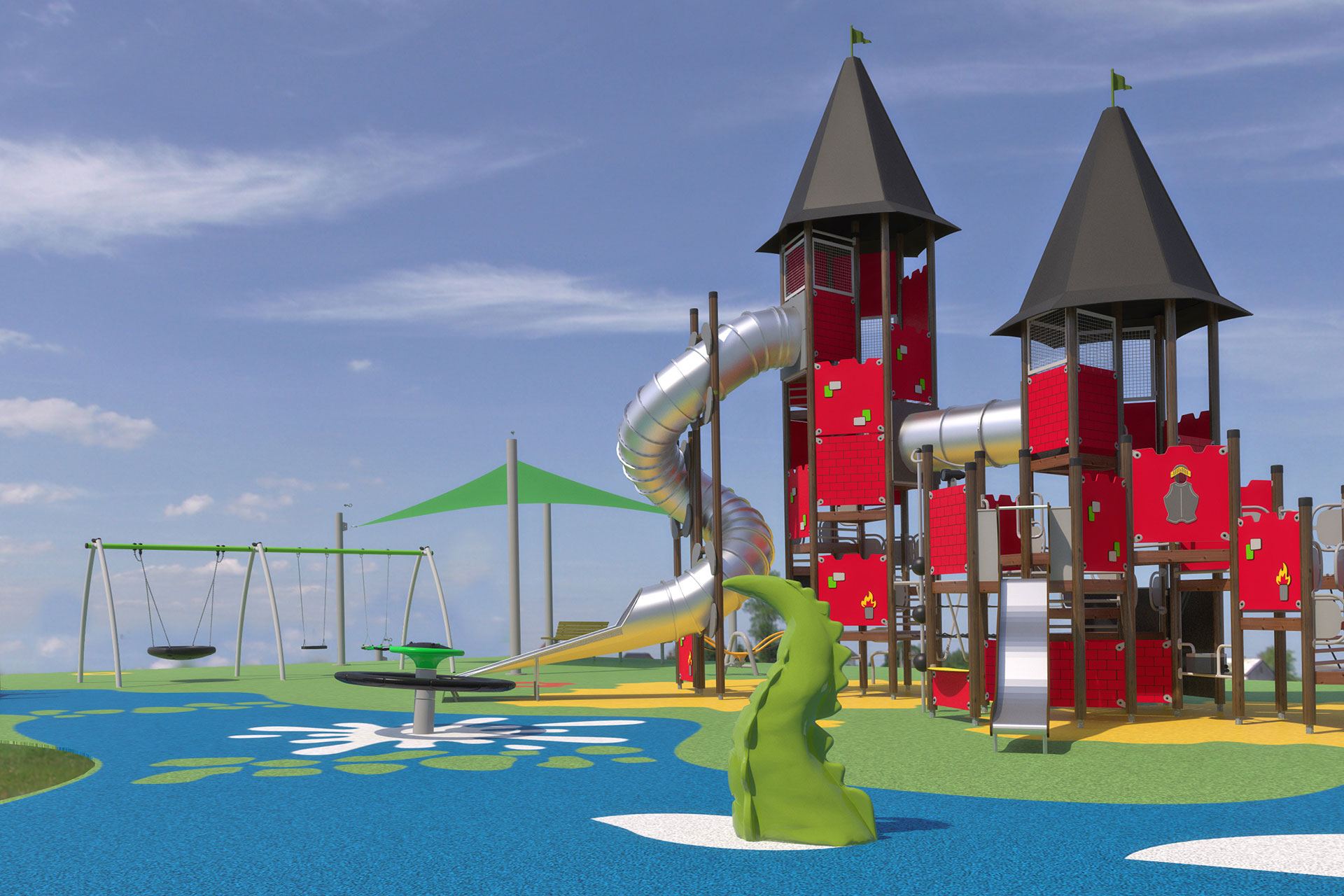 Custom red castle Playground